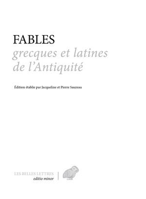 FABLES GRECQUES ET LATINES DE L'ANTIQUITE